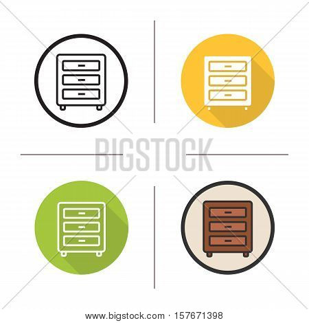 Chest of drawers icon. Flat design, linear and color styles. Nightstand isolated vector illustrations