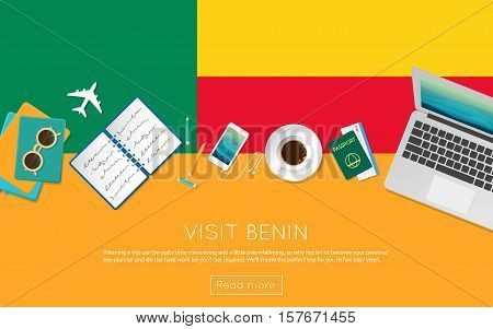 Visit Benin Concept For Your Web Banner Or Print Materials. Top View Of A Laptop, Sunglasses And Cof