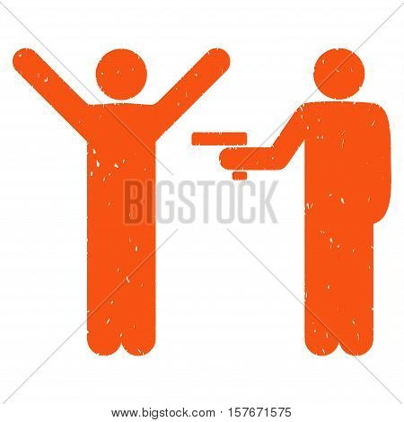 Crime Robbery grainy textured orange icon for overlay watermark stamps. Flat symbol with dirty texture. Dotted vector ink rubber seal stamp with grunge design on a white background.