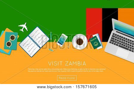 Visit Zambia Concept For Your Web Banner Or Print Materials. Top View Of A Laptop, Sunglasses And Co