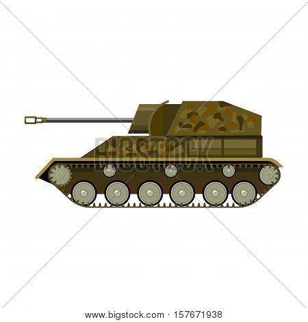 Military tank icon in cartoon style isolated on white background. Military and army symbol vector illustration