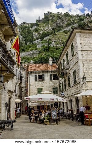 Kotor.Montenegro.05 June 2015.narrow streets and houses in the old town of Kotor. Montenegro.