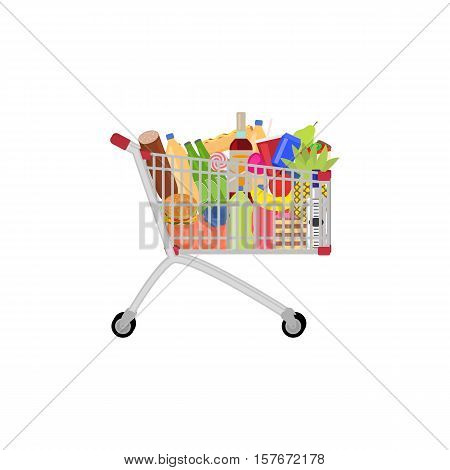 Vector illustration of a full food meal drink a shopping trolley. Picture isolated on white background. Shopping cart on wheels complete products. Flat style. Side view.