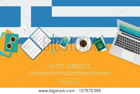 Visit Greece Concept For Your Web Banner Or Print Materials. Top View Of A Laptop, Sunglasses And Co