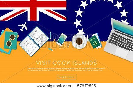 Visit Cook Islands Concept For Your Web Banner Or Print Materials. Top View Of A Laptop, Sunglasses