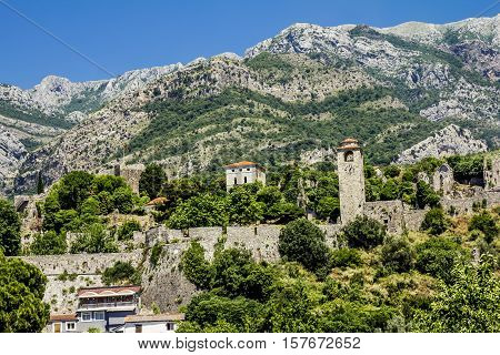 old Bar. Montenegro.03 june 2015.Fortress in the old town of Bar in Montenegro on a sunny summer day