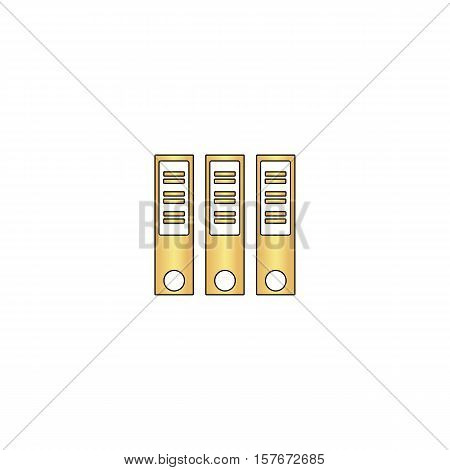 Binders Gold vector icon with black contour line. Flat computer symbol
