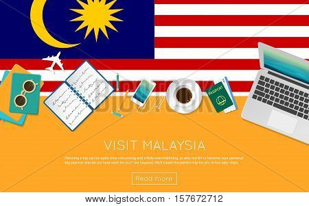 Visit Malaysia Concept For Your Web Banner Or Print Materials. Top View Of A Laptop, Sunglasses And