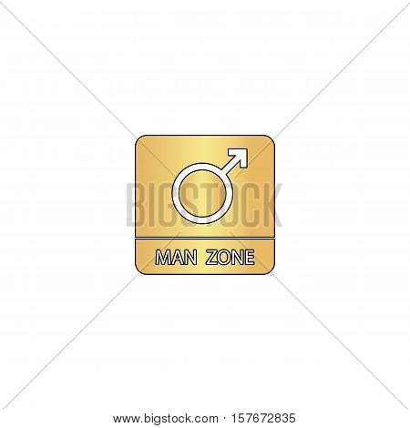 man gender Gold vector icon with black contour line. Flat computer symbol