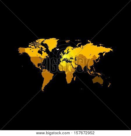 Orange color world map on black background. Globe design backdrop. Cartography element wallpaper. Geographic locations image. Continents vector illustration