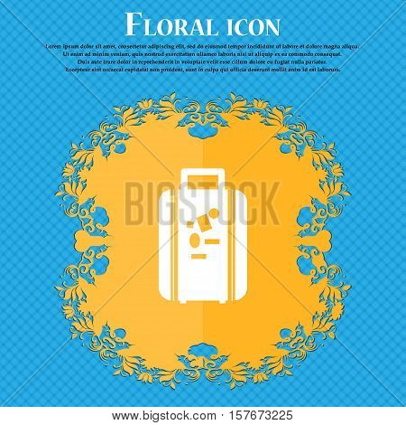 Travel Luggage Suitcase Icon Sign. Floral Flat Design On A Blue Abstract Background With Place For Y