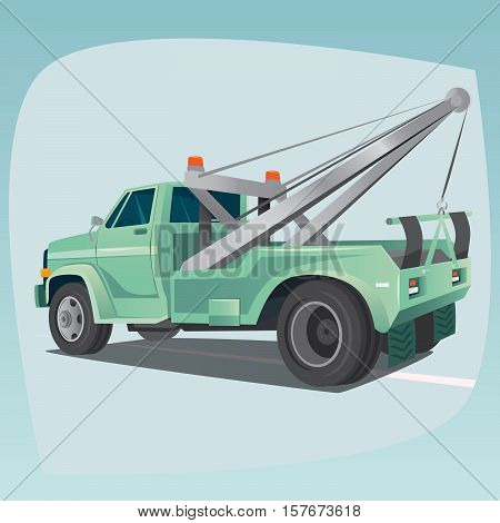 Isolated Tow Truck With Crane