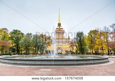 Admiralty Building With Fontain In Saint Petersburg