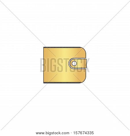 Wallet Gold vector icon with black contour line. Flat computer symbol