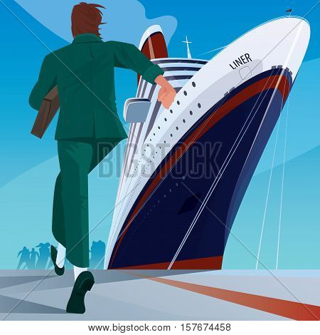 Man At The Dock Running To The Ship