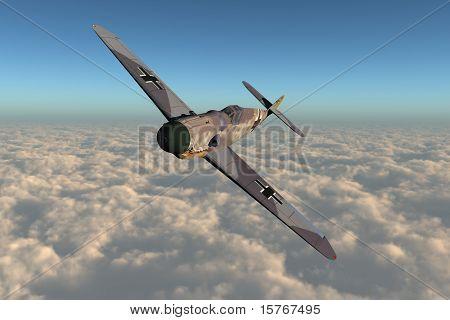 This image shows a german messerschmitt air force plane from 2. world war poster