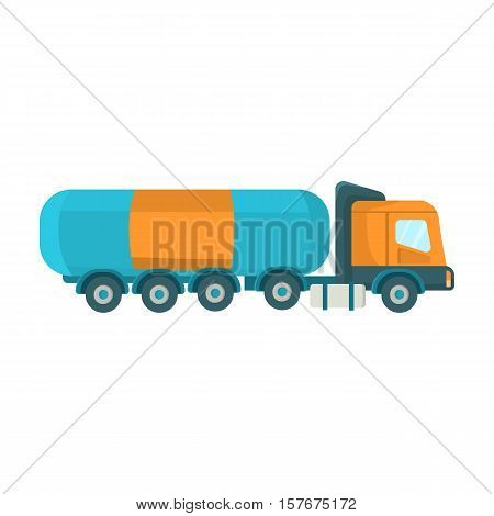 Oil tank trucker icon in cartoon style isolated on white background. Oil industry symbol vector illustration.