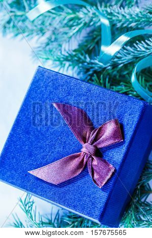 Christmas Background With Firtree Branch And Gift Box