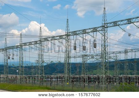 Power transformer in sub station. Electricity distribution.
