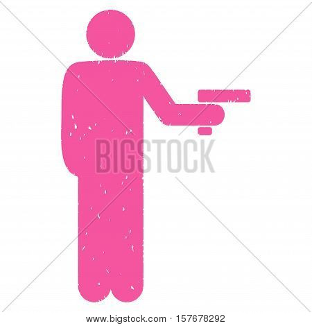 Robber With Gun grainy textured pink icon for overlay watermark stamps. Flat symbol with dust texture. Dotted vector ink rubber seal stamp with grunge design on a white background.