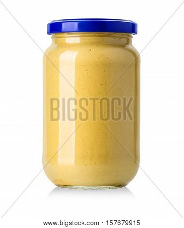 Glass jar of mustard isolated on the white background with clipping path