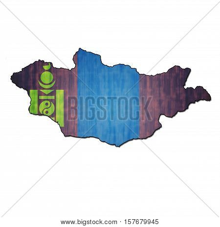 Mongolia Territory With Flag