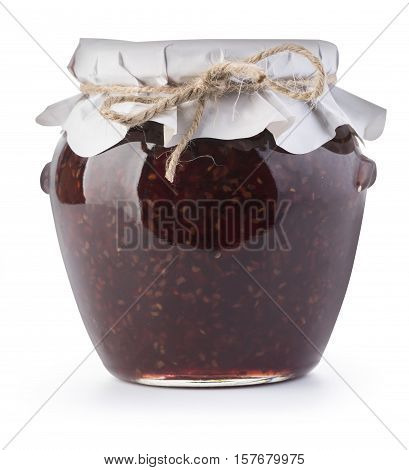 delicious jam in the pot isolated on white with clipping path