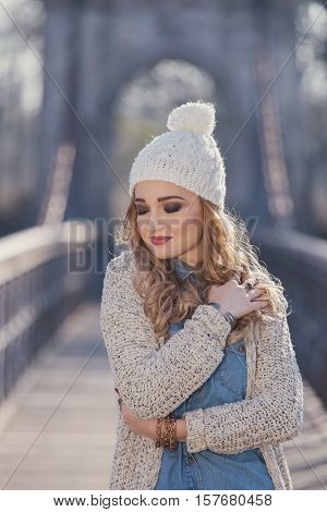Winter portrait of a beautiful young woman