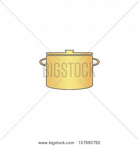 Saucepan Gold vector icon with black contour line. Flat computer symbol