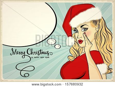 Customizable Beautiful Retro Christmas Card With Sexy Pin Up Santa Girl. Format 7 Inch/5 Inch.
