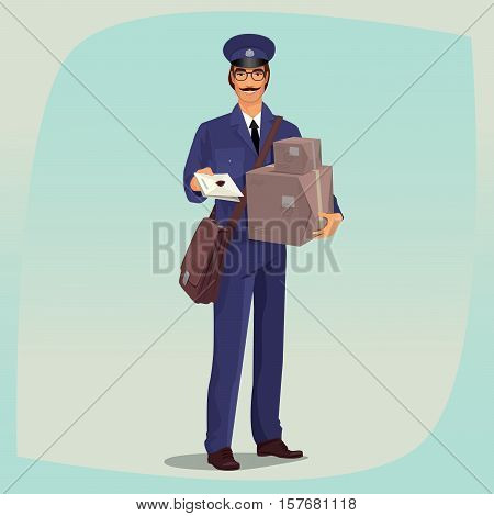 Postman Standing In Front Face With Parcels