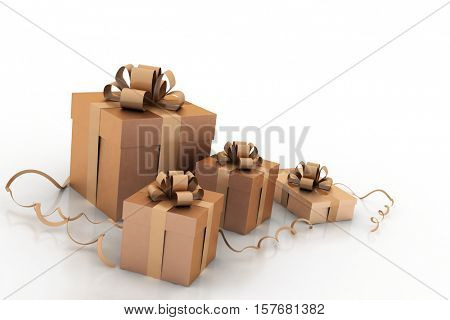 3d Illustration of boxes with christmas gifts
