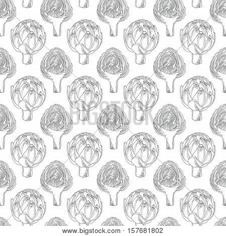 Vector seamless pattern with outline head of Artichoke or Cynara on the white background. Hand drawn organic elements. Vegetable culture in contour style for food design and coloring book.