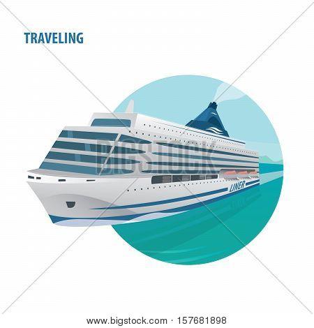 Round Emblem On White Background With Cruise Ship