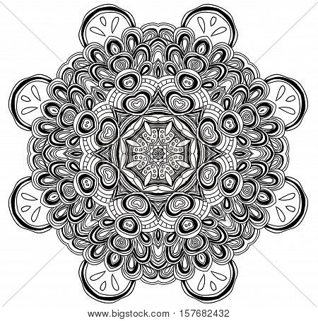 Black and white abstract pattern with leaves and flowers. Doodle. Hand drawn zentagles. Coloring book. Mandala.