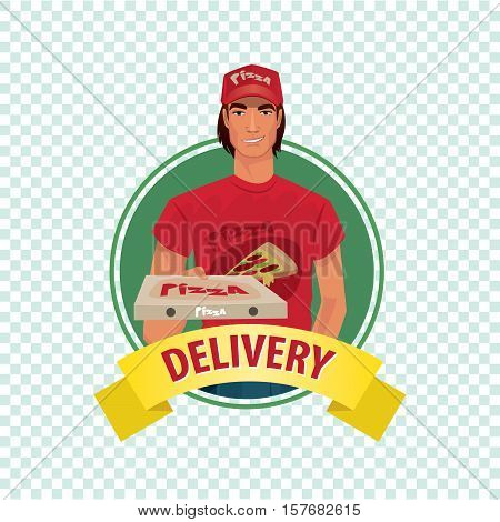 Round Icon On White Background With Pizza Courier