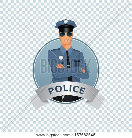 Round Icon On White Background With Policeman