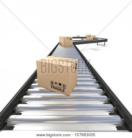 conveyor belt line with boxes 3d rendering