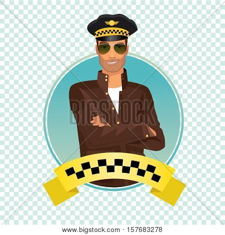 Isolate round icon on white background with unshaved taxi driver standing and smiling dressed in brown jacket brown leather gloves glasses and hat