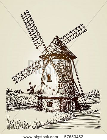 Windmill, mill or bakery. Vintage hand-drawn illustration
