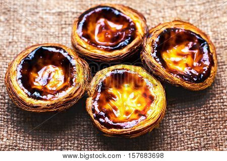 Egg Tart - Pasteis de nata typical Portuguese egg tart pastries sweet and delicious dessert