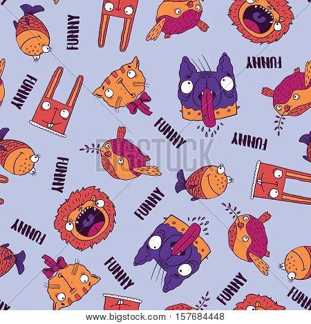 Seamless Pattern With Animals On Blue Background