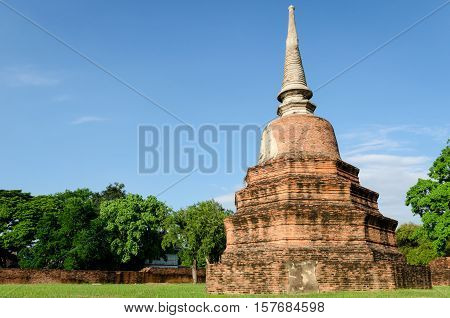 Old temple ruins in Ayutthaya Thailand with big chedi