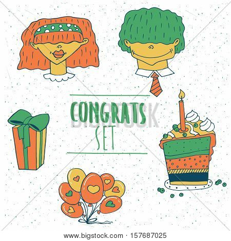 Set of greeting emblems in red green tones with man woman balloons gift cake with a candle. Handmade cartoon style