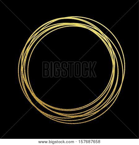 Gold sparkling circle of golden foil gilding. Rings of golden glitter texture. Festive vector background for Christmas and New Year decoration design