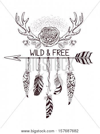 Hand drawn boho style design with rose flower, arrow and feathers. Hippie fashion decoration for t-shirt or tattoo. Ethnic Style with motivate Slogan .