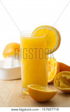 Homemade fresh organic orange juice with slice