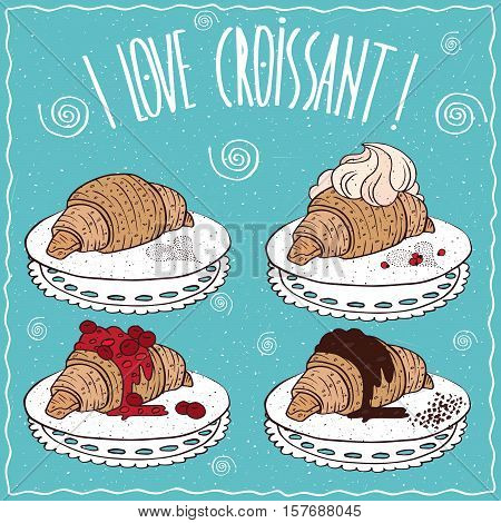 Set Of Croissants In Handmade Cartoon Style