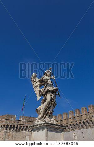 Angel Statue At Sant Angelo Bridge In Rome