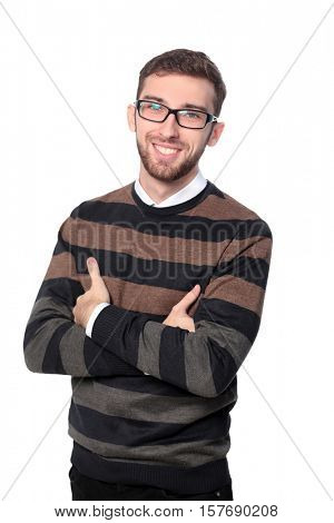Portrait of bearded businessman smiling